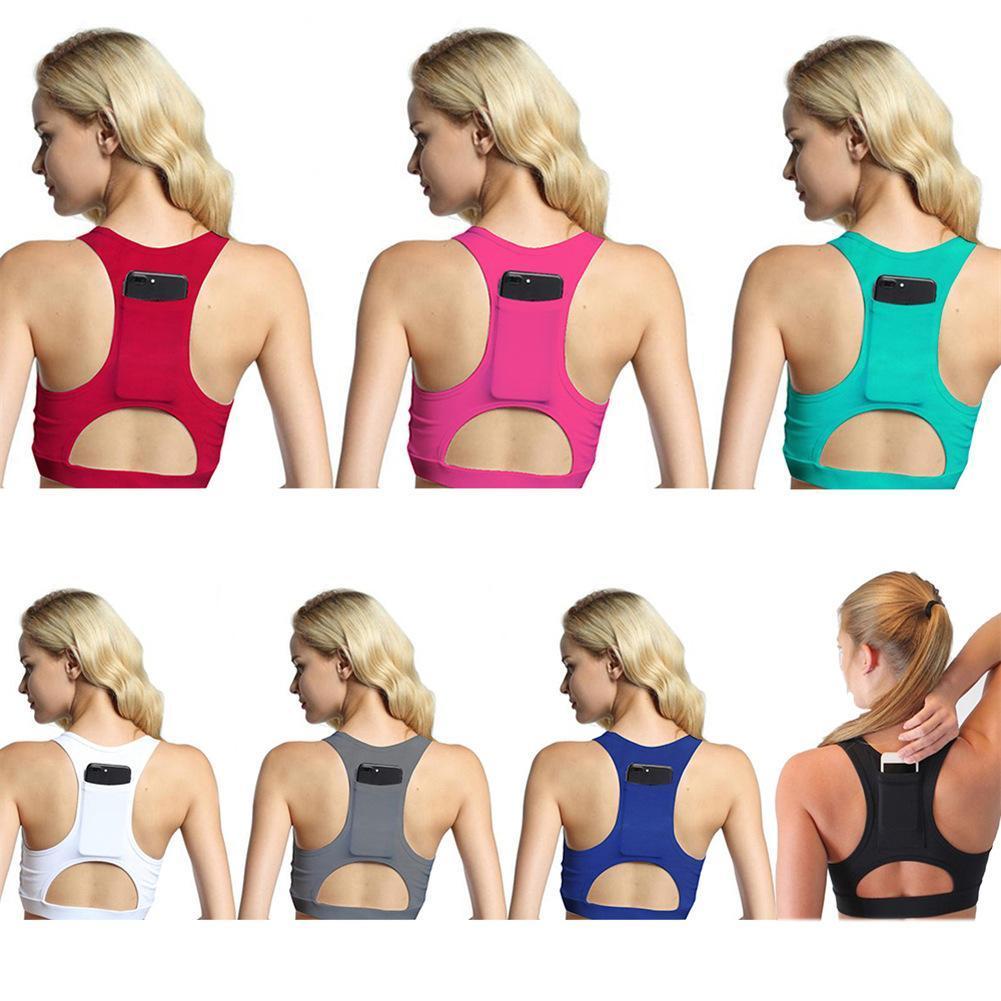 fbb42278f Women s Compression Padded Sports Bra With Phone Pocket Yoga Bra Sportswear  Elastic Running Underwear Gym Sport Top