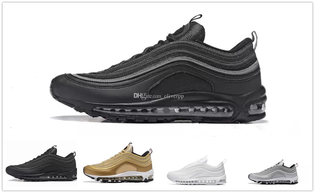 hot sale online 69674 80565 Acheter Nike Air Max Airmax 97 Hommes 97 Chaussures Triple Blanc Noir  Chaussures De Course Og Metallic Gold Argent Bullet Chaussures De Sport  Pour Femme ...