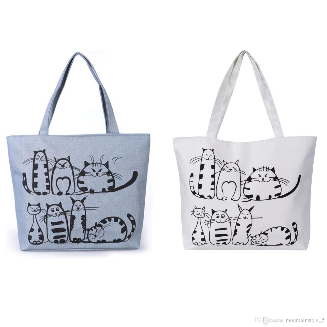 Hot Women Canvas Handbag Cartoon Cat Printed Shoulder Bag Female Large  Capacity Ladies Beach Bag Women Canvas Tote Shopping Handbags Satchel Messenger  Bags ... 0423c4e5dffa6