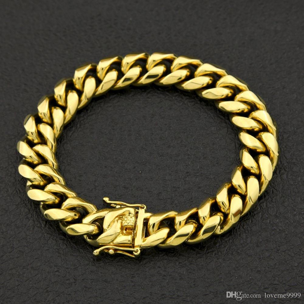 Acciaio inossidabile di alta qualità Curb catena cubana Dragon Clasp bracciali uomo donna moda oro argento braccialetti 8mm / 10/12 / 14mm 23 cm