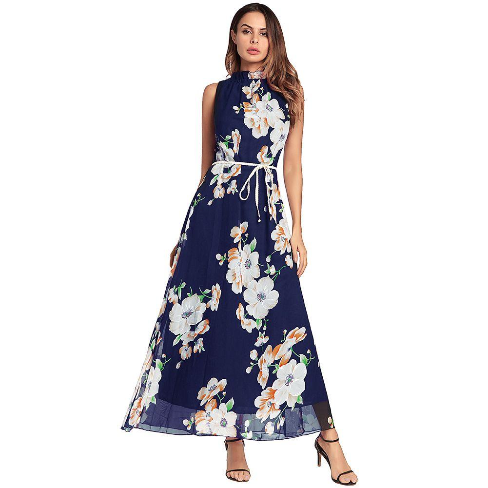 2abb0fd4469f 2018 New Women s Spring Summer - Bohemian Printed Long Skirt ...