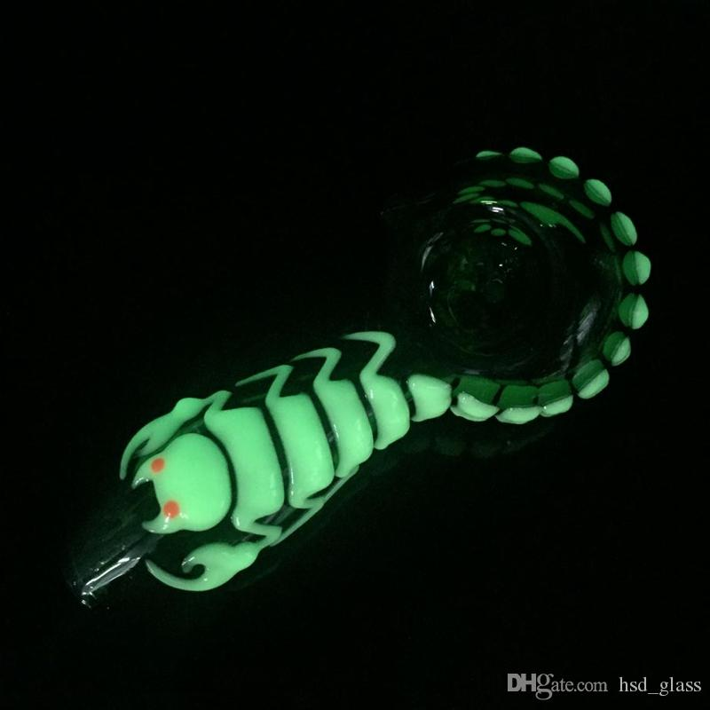 Newest 4 inch glow in the dark portable water pipes glass pipes hookah pipe glass spoon pipes