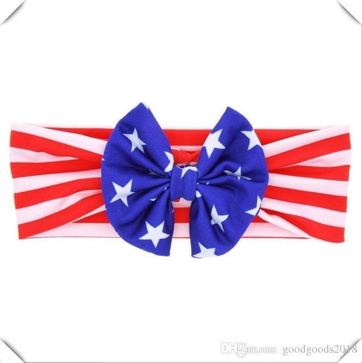 Neonato americano stelle strisce bandiera fascia nazionale giorno bambini arco elasticità fascia capelli accessori capelli b913