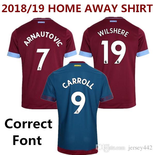 121877d7b784b 2018 19 West Ham United Camiseta De Fútbol Local Lejos Chicharito Arnautovic  Carroll Camiseta De Fútbol Wilshere Antonio Zabaleta Lanzini Noble Uniforme  Por ...