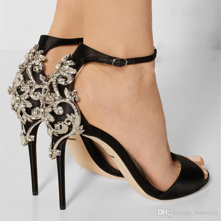 1d7047d5 Compre Diseñador De Moda Rhinestones Tacones Negros Para Las Mujeres Zapatos  De Vestir Peep Toes Baratos 11 CM Bombas De Tacón De Aguja Más Las  Sandalias De ...