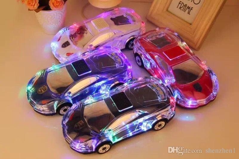 Portable Bluetooth Wieless Speaker Colorful Crystal LED Light Mini Car Shape Amplifier Loudspeaker Support TF FM MP3 Music Player MIS184