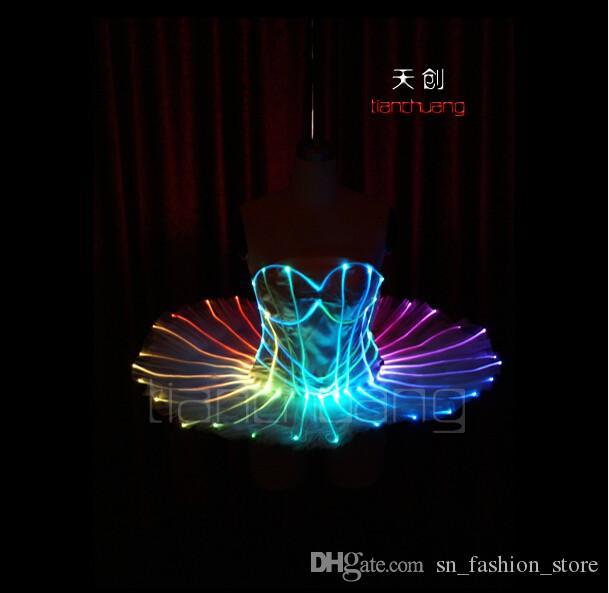 TC-75 Full color LED colorful light women costumes party skirt wears led ballroom dance ballet wedding bra dresses programmable