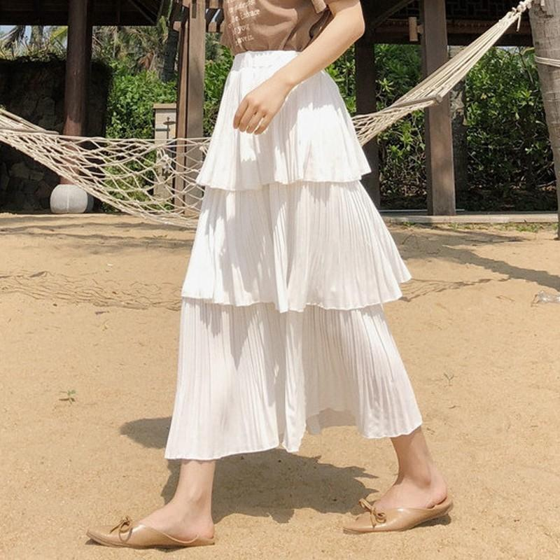 163db78acc66 2019 Fashion Chiffon Tiered Skirts Women High Waist Pleated Long ...