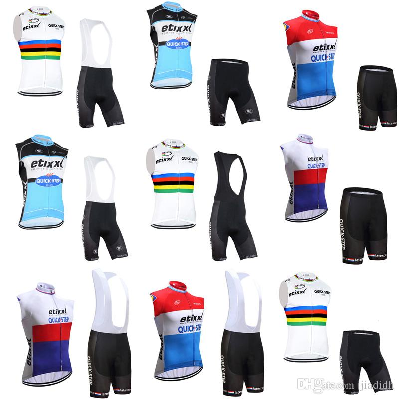 QUICK STEP Team Cycling Sleeveless Jersey Vest BibShorts Sets Men S Summer  Jersey Suit Professional Team Racing Suit C2313 Cycling Top Cycle Tops From  ... c631f3418