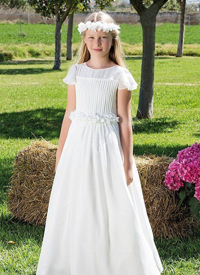 6462787638d Beautiful Communion Gown Chiffon A Line Flower Girl Dress Cap Shoulder Lace  Formal Occasion Dress Vintage Style Flower Girl Dresses Western Flower Girl  ...