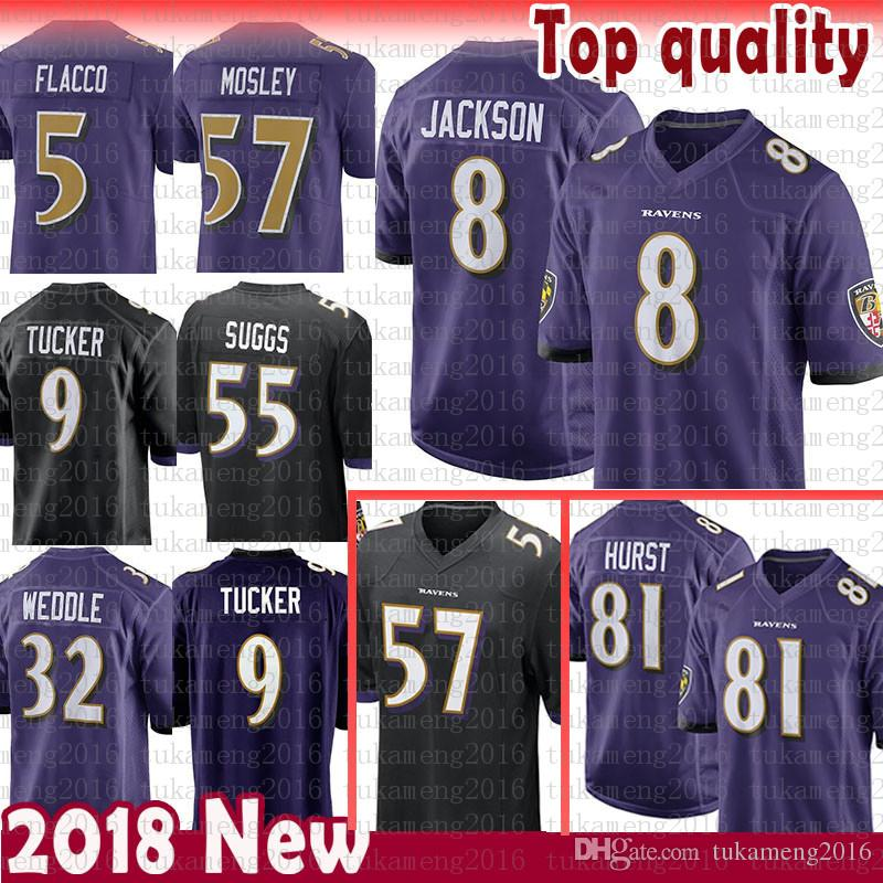 Online Cheap 8 Lamar Jackson 81 Hayden Hurst Baltimore Ravens Jersey 5 Joe  Flacco 9 Justin Tucker Perriman 32 Eric Weddle 55 Suggs 57 C.J. Mosley  Flacco By ... ac25c2966cc96