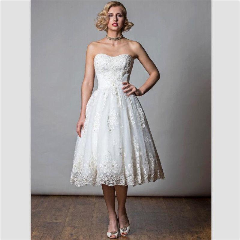 White Lace Sweetheart Short Wedding Dresses 2018 Beads Tea Length