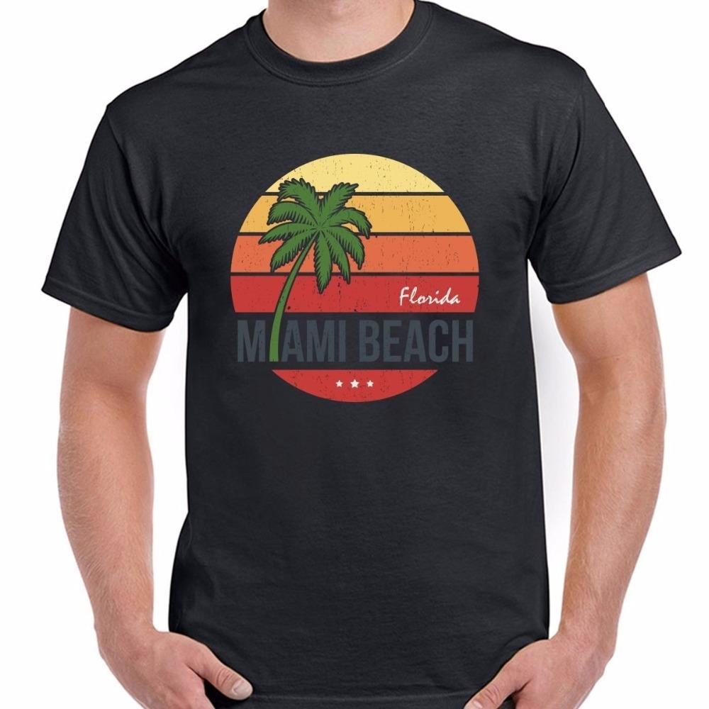 Cheap T Shirts Online Short Printing Sun Florida Miami Beach Vintage