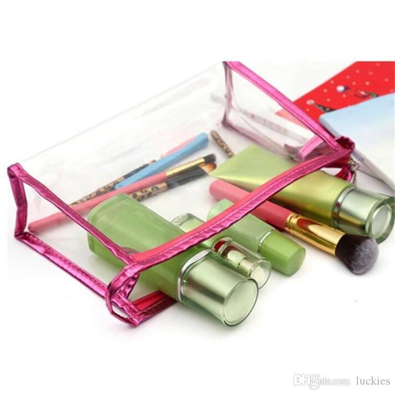 Moda cosméticos saco cosmético casos sacos de maquiagem lady lavagem gargarejo saco transparente sacos de viagem de PVC à prova d 'água sacos de classificação