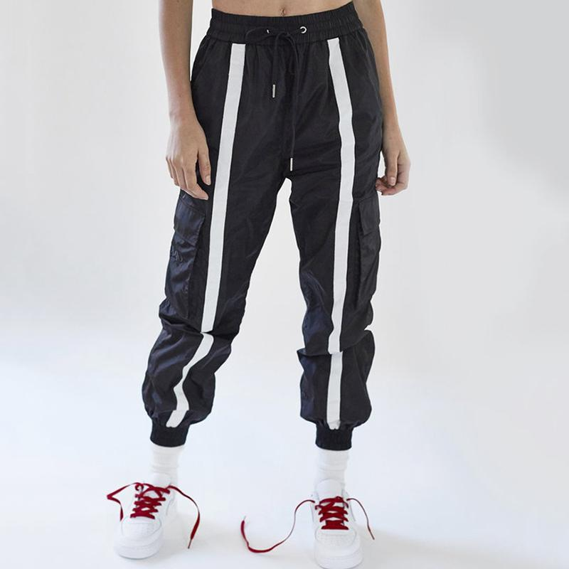 8dd8edfd3 2019 Front Striped Drawstring Sweatpants 2018 Women Hip Hop Track Pants  Fashion Black And White Harem Pants Joggers Pantalon From Finebeautyone, ...