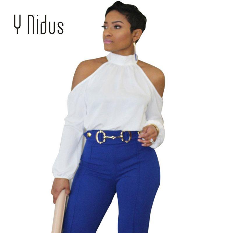 d9baf027 Y Nidus Women's Shirts Summer Sex Turtleneck Chiffon Blouse 2018 Hollow Out  Tops Off Shoulder blusas feminina Plus Size