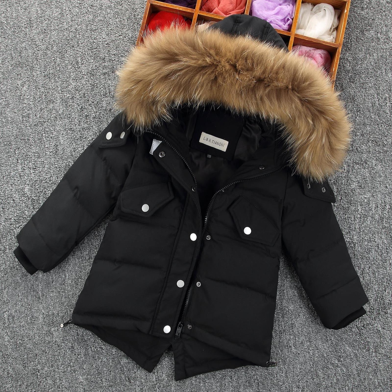 brand new 29693 8b74f Winter Daunenjacke Parka Mädchen Fell Kapuze verdicken Mäntel gefüttert  warme Kinder Kleidung Schnee tragen Kinder Oberbekleidung