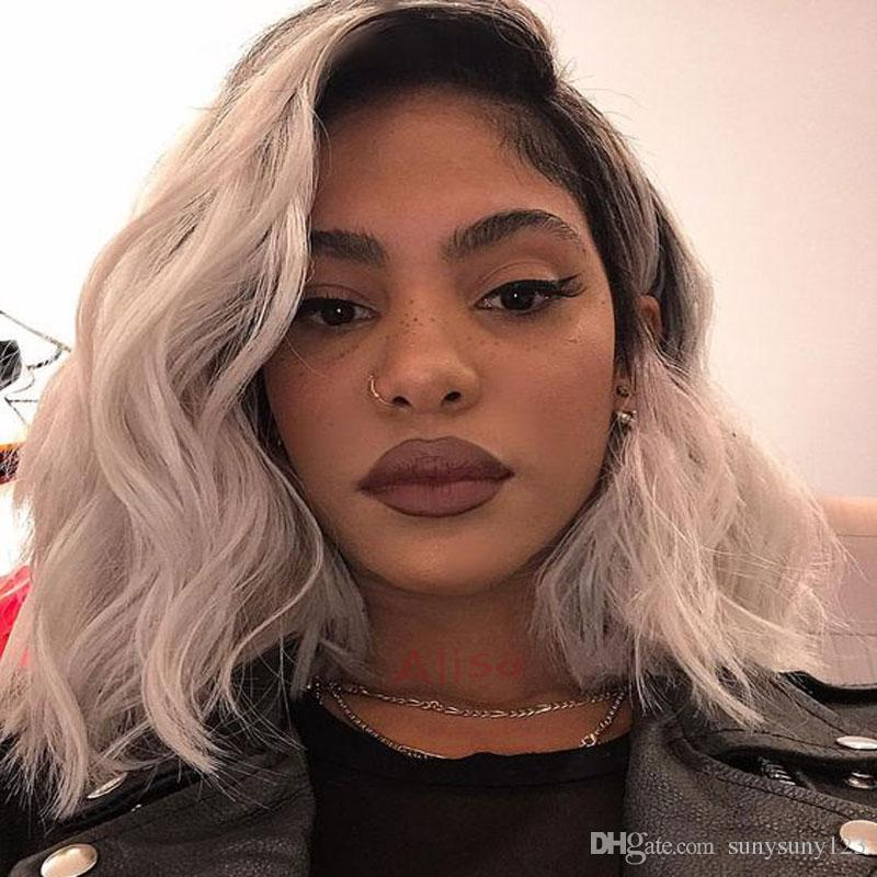 Grey Ombre Short bob Wig Synthetic Lace Front Wig Dark Roots Body Wave Silver Grey Replacement Hair Wigs For Women Heat Resistant FiberHair