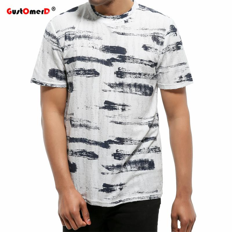 b69214bada4a58 GustOmerD Summer New Tshirt Men Brand Clothing Fashion Hole Design Hip Hop  Letter Print T Shirt Men Short Sleeve Casual T Shirts Mens Dress Shirt  Patriotic ...