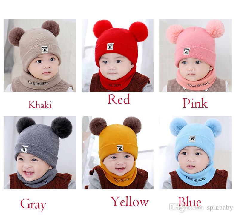 Compre 2 Unids / Set Bebé Recién Nacido Sombrero De Punto Bufanda ...