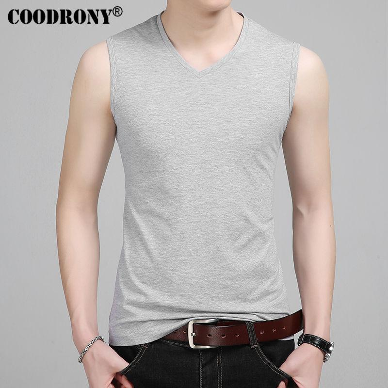 COODRONY Slim Fit Tank Top Men Sleeveless V Neck T Shirt Men 2017 Spring  Summer New Arrival Cotton T Shirts All Match Tees S7651 UK 2019 From  Yanmai be96e1b081de