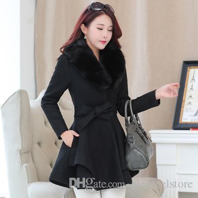 Pinky Is Black Winter Women Woolen Coat Outerwear Large Fur Collar Ruffles Female Casual Jacket Long Sweet Preppy Trench Coat