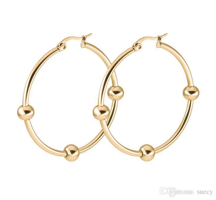 Glossy Big Circles Brincos de Argola três pequenas bolas de Prata De Ouro De Titânio de Aço Inoxidável Brincos Moda Jóias 10 par / lote