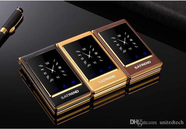 Luxury Flip 3.0 pulgadas Doble pantalla táctil dual Tarjeta SIM Dual MP3 MP4 FM vibrar teléfono móvil senior para personas mayores
