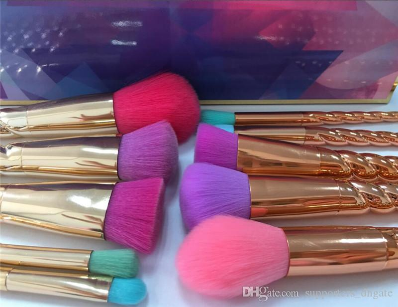 Makeup brushes sets cosmetics brush bright colors rose gold Spiral shank make up brush screw tools Contour Retail box