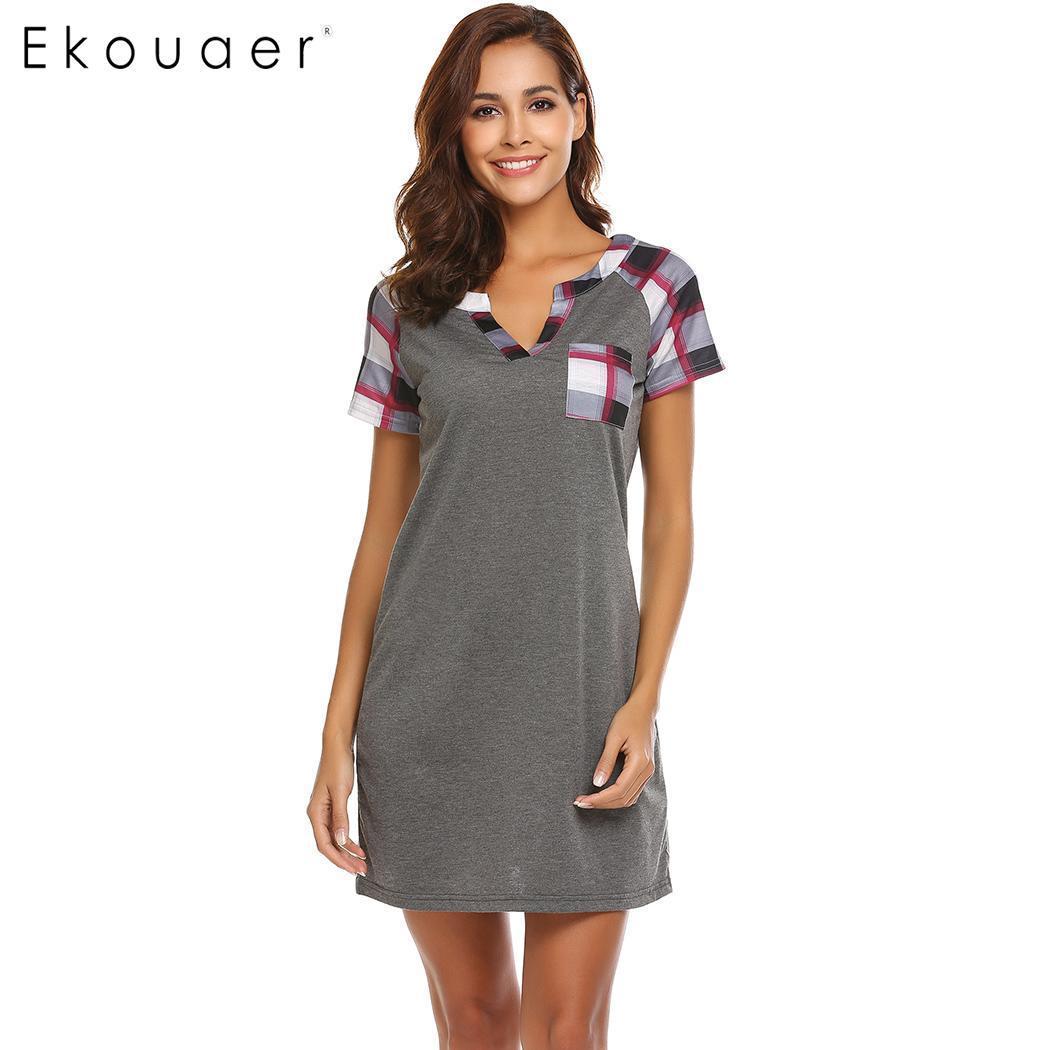 Ekouaer Women Nightgowns Casual Nightwear Plaid Short Sleeve Nightshirts V  Neck Loose Sleepwear Female Chemise Dress Home Cloth UK 2019 From Dalivid e614110b3f