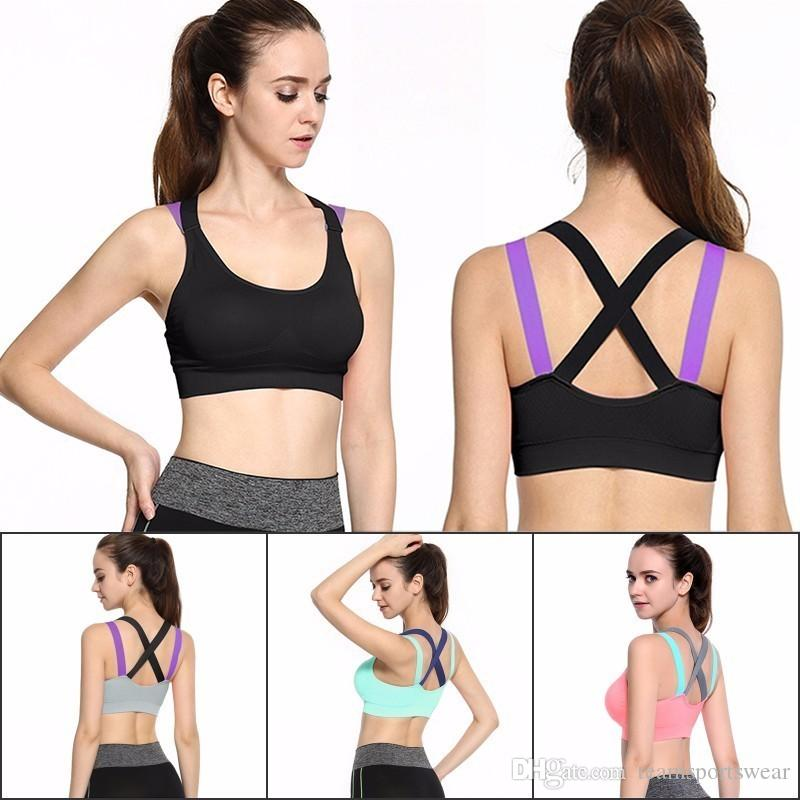 dd9d1baf907f5 2019 Cross Strap Back Women Sports Bra Professional Quick Dry Padded  Shockproof Gym Fitness Running Yoga Sport Brassiere Tops From  Teamsportswear