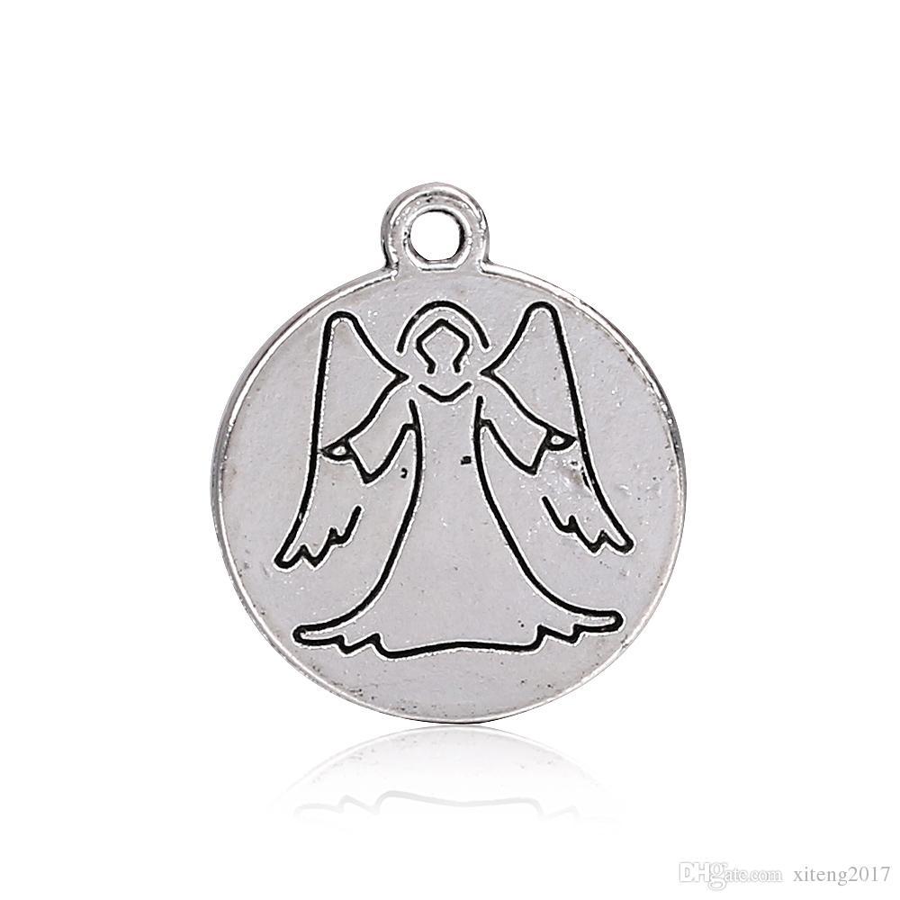 Neue Mode 18mm Engel Charms Schutzengel Wings Antique Machen Anhänger Fit Vintage Tibetischen Silber DIY Armband Halskette Schmuck machen