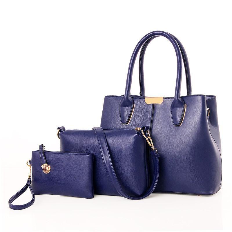 9bc60a2e58c Fashion Women s PU Leather Handbag+Shoulder Bag+Purse Card Holder Set Plain  Button Tote For Women Leather Handbag Women s Card Holder Shoulder Bag  Online ...