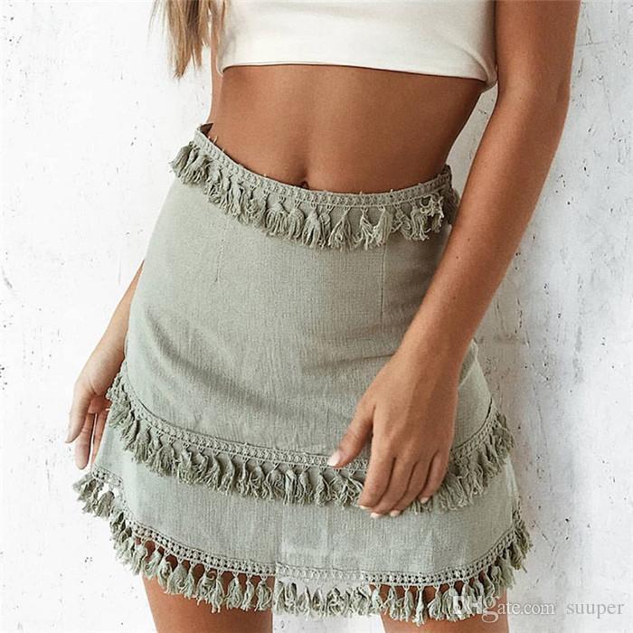 68e45b2a Borla Patchwork Summer Style Mini Faldas Streetwear Mujeres Falda Corta  2018 Casual Hight Waist Bodycon Faldas Mujer