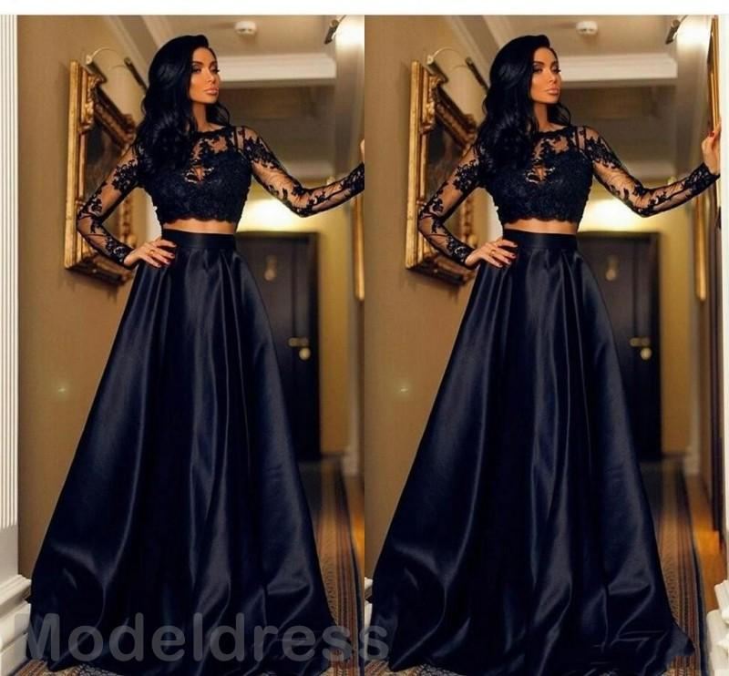 2018 Sexy Two Piece Prom Dresses 2K18 Sheer Neck Illusion Long Sleeve Appliques Floor Length Cheap Evening Party Gowns Custom Made