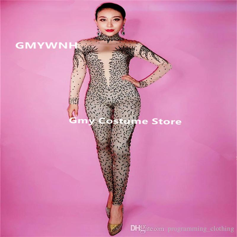 bbd22f37bf83a 2019 F100 Sexy Ballroom Dance Costumes Prom Pole Dancer Jumpsuit Singer  Performance Bodysuit Dresses Stage Rhinestone Outfit Clothe Club Wears Ds  From ...