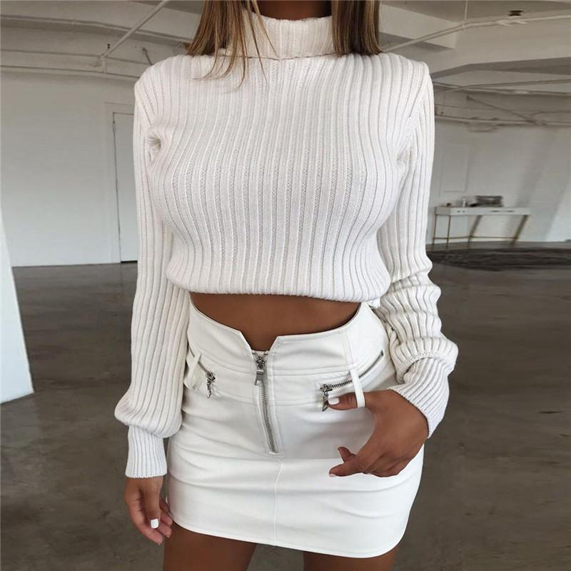 8bbfce1d29eb45 2019 Autumn Women Turtleneck Sweater Sexy Short Knitted Sweater Casual Long  Sleeve Pullover Crop Top Winter High Neck Female Sweater From Mobile01
