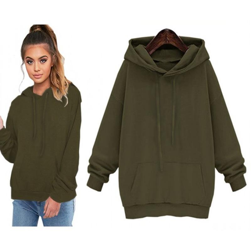 e2b1299ebcaf 2018 Autumn Sweatshirt Women Casual Hoodies Long Sleeve Pockets Black Sweatshirt  Fashion Street Womens Green Pullover Hoody Online with  40.94 Piece on ...