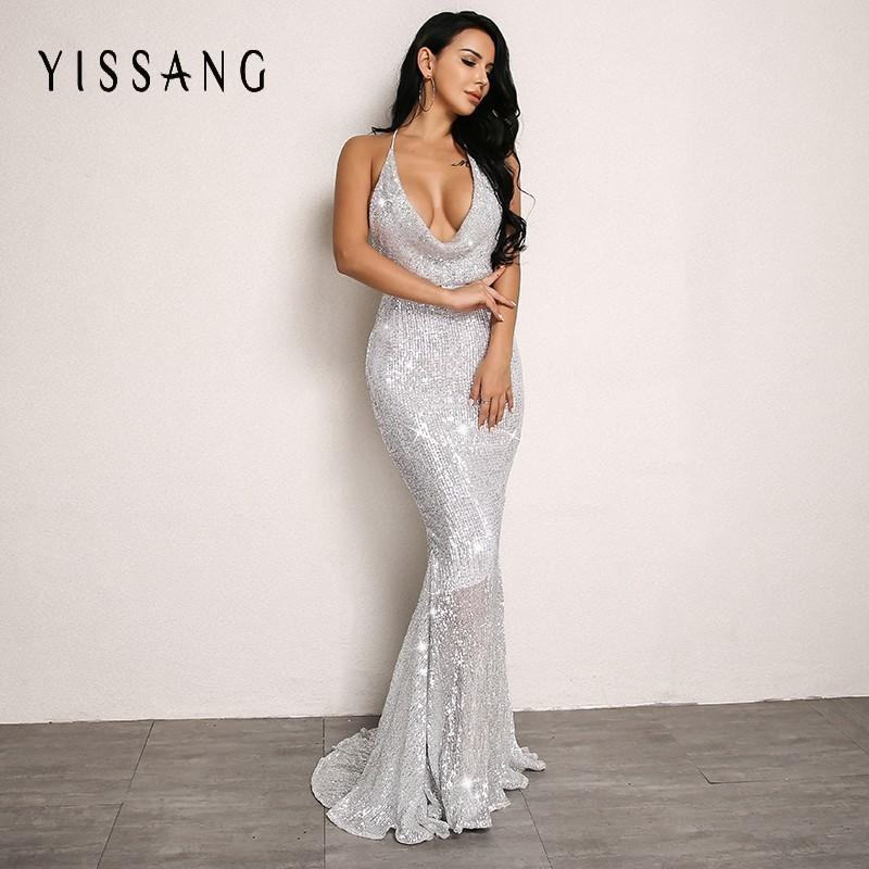 Yissang Silver Sexy Women Dress Summer Off Shoulder Backless High Waist Sequin  Dresses Party Trumpet Mermaid Dress Vestido UK 2019 From Jiuwocute dbcfe01e0920