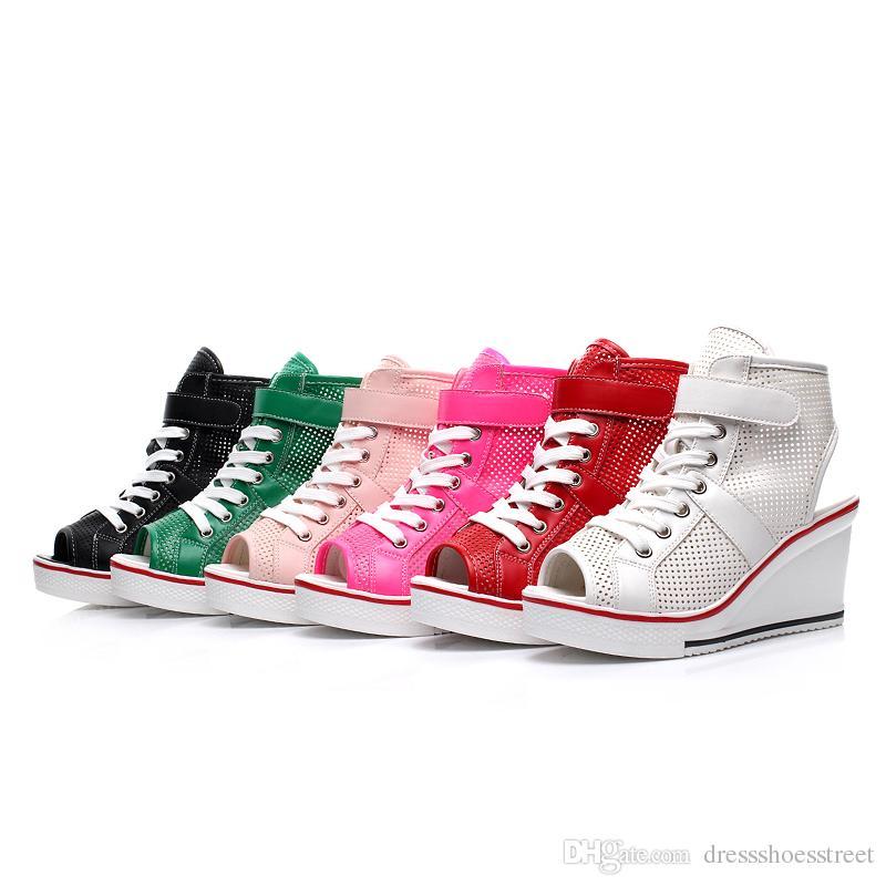 217d6f8bc8 Compre Mulheres Alta Plataforma Superior Peixe Cabeça Sapatos Mulher  Vermelho Preto Casual Formadores Elevador Sapato Sapatos De Lona De Salto  Alto De ...
