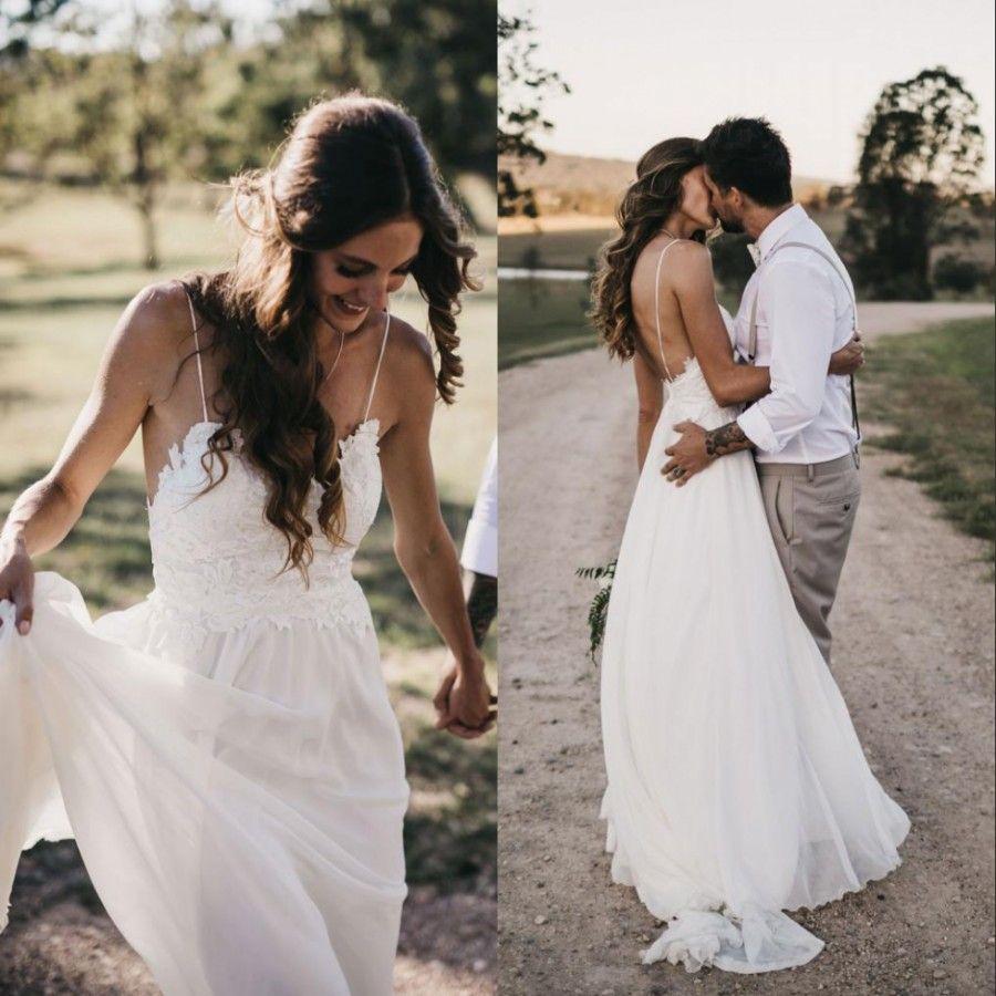 b79a9fd898 Sexy Boho Chiffon Beach Wedding Dresses Spaghetti Straps Plus Size Elegant  A Line Backless Lace 2018 Bohemian Country Bridal Gowns Cheap