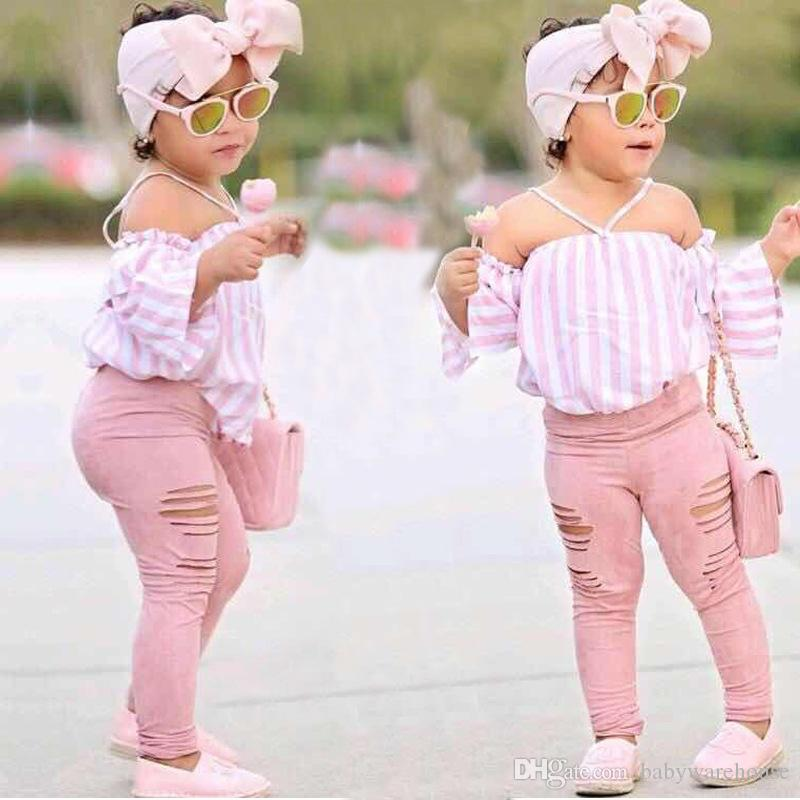 6a6abe561c486 3PCS Baby Girl Clothes Sets Striped Off-Shoulder Tops + Hole Long Pants +  headband Boutique Girls Clothing Set Outfits Children Clothes 1-7T