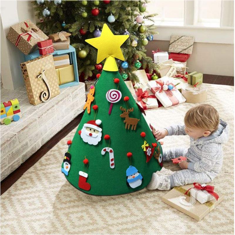 Kinder Geschenke Weihnachten 2019.2019 New3d Diy Fühlte Sich Kleinkind Weihnachtsbaum Neujahr Kinder Geschenke Spielzeug Künstliche Baum Weihnachten Dekoration Hängende Ornamente