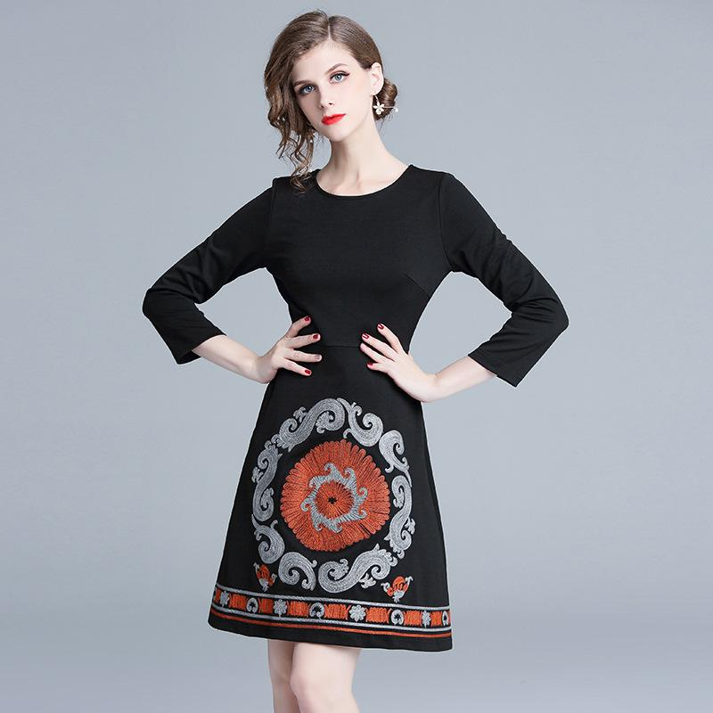 Girls Going Out Dresses Elegant Casual A Line Dress Long Sleeve Slim