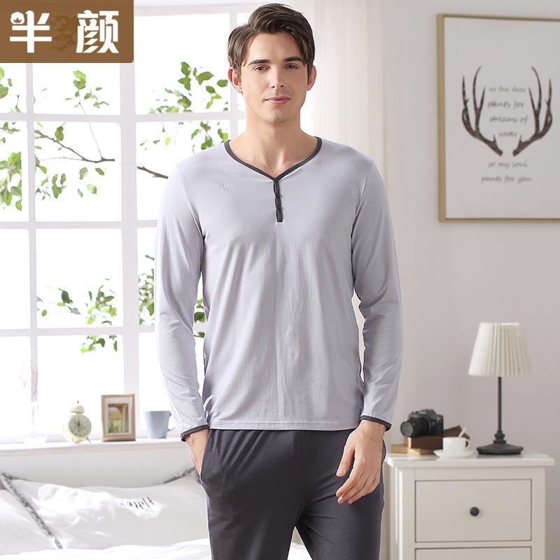 Мужская пижамы весна осень с длинным рукавом пижамы хлопок твердые кардиган пижамы мужская гостиная пижамы устанавливает размер L до 3XL пижамы