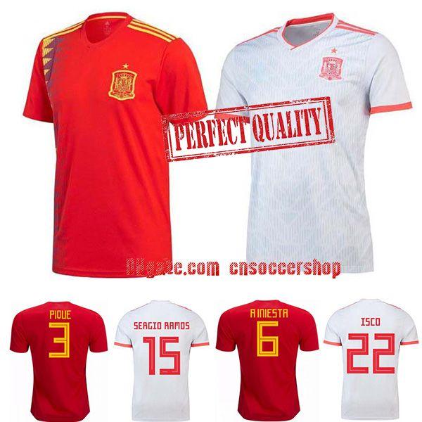 Camisetas De Fútbol España 2018 2019 S 4XL Copa Del Mundo España Rusia  Camiseta De Fútbol Kit De Calidad Perfecta Camiseta Selección Española Por  ... fb7313b5d33b8