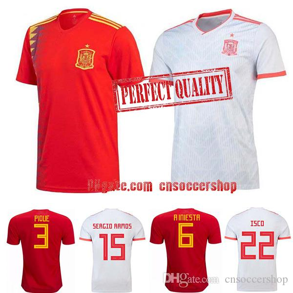 free shipping d92ee 3686d Spain soccer jerseys 2018-2019 S-4XL World Cup Spain Russia football shirt  Perfect quality kit camiseta selección española