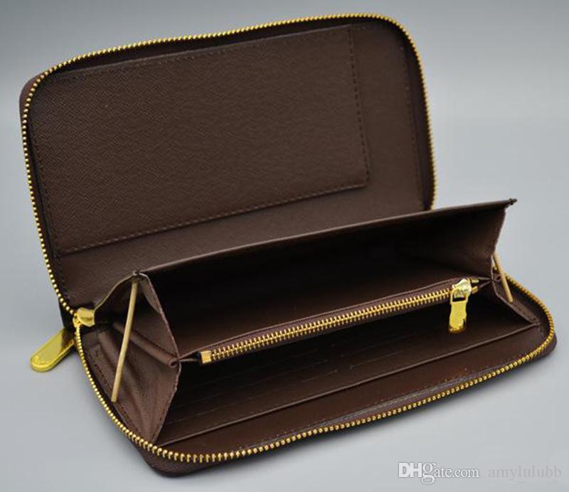 Atacado clássico padrão carteira de couro de moda bolsa longa bolsa com zíper com zíper bolsa de bolso data código nota embreagem compartimento 60003