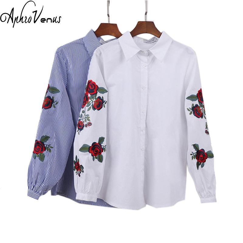 5b19de5bd20 2019 Rose Floral Embroidery Striped Blouse Women Long Sleeve Shirt Casual  Cotton Blusa Plus Size Kimono Tops Office Lady Blusas 2018 Y1891201 From  Tao02