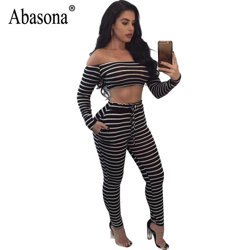 88767169626 2019 Abasona Women Jumpsuits Off Shoulder Black White Striped Overalls  Women Two Piece Set Autumn Casual Long Sleeve Jumpsuit Rompers From Cute08